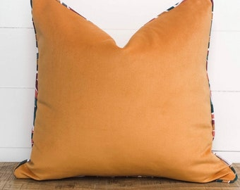 Cushion Cover - Apricot Velvet with piping