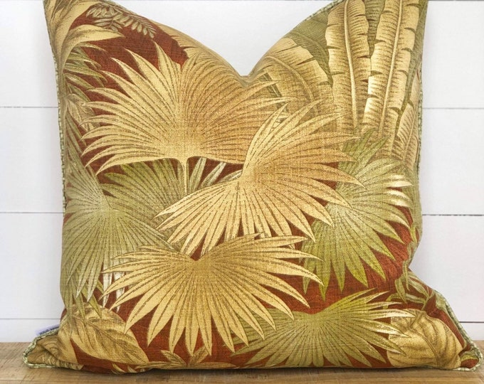 Outdoor Cushion Cover - Cinnamon Breeze Palms with Basketweave Piping