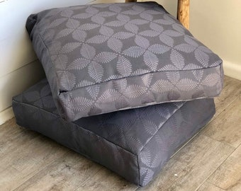 Grey Palms Floor Cushion Cover