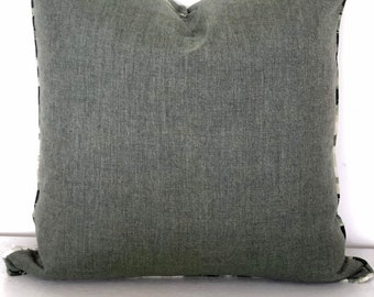 SALE - Mineral Green Indoor/Outdoor Cushion Cover with ikat tribal piping