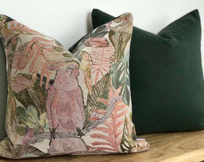 Jungali Birds Cushion Cover with Hunter Green Denim back