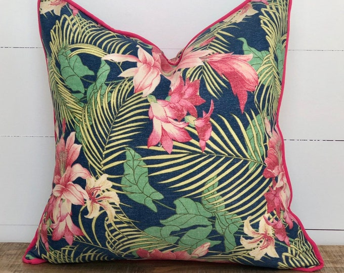 Outdoor Cushion Cover - Ocean Floral Palms with Pink Piping