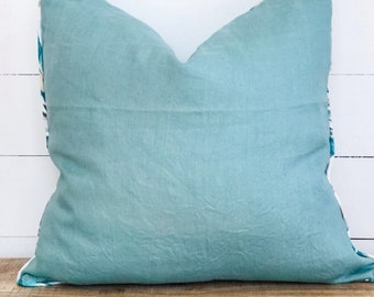 Cushion Cover - Teal Linen with Heavenly Palm Piping