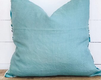SALE - Cushion Cover - Teal Linen with Heavenly Palm Piping