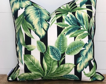 Outdoor Cushion Cover - Palmetto Stripe with Black Piping