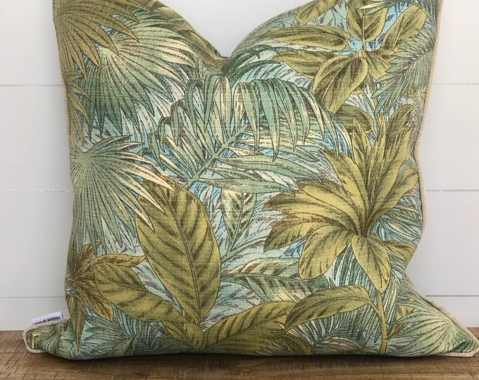 Bahamian Breeze Palms Indoor/Outdoor Cushion Cover with Coconut Piping