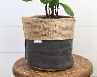 Pot Plant Cover - Charcoal Linen and Hessian Reversible