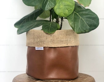 SALE - Pot Plant Cover - Copper Faux Leather and hessian Reversible