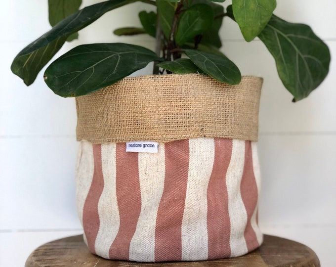 Adobe Blush Stripe Reversible Hessian Pot Plant Bag
