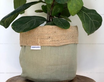 Pot Plant Cover - Olive Linen and Hessian Reversible