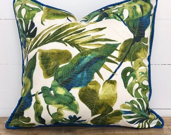 Inky Palms Indoor/Outdoor Cushion Cover with Black Piping