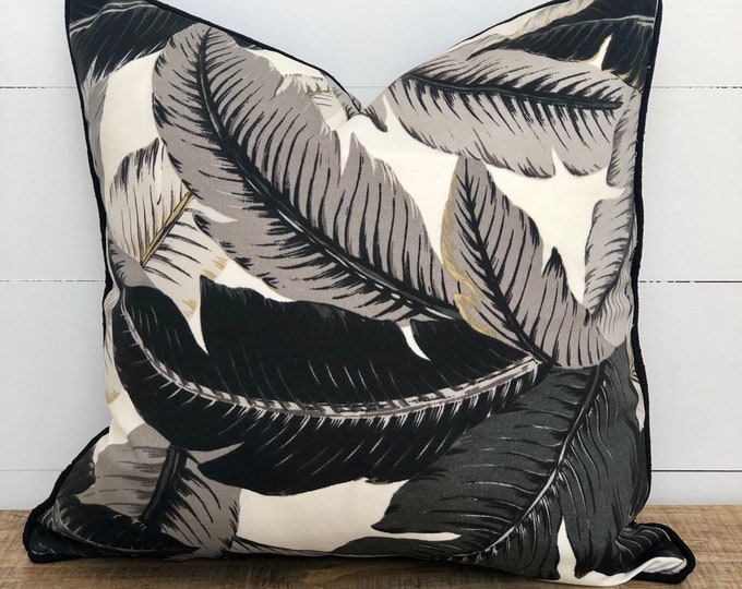 Black and White Swaying Palms Indoor/Outdoor Cushion Cover with Black Piping