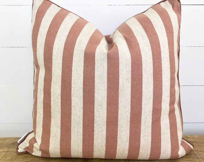 Adobe Stripe Cushion cover with Russet Linen Piping