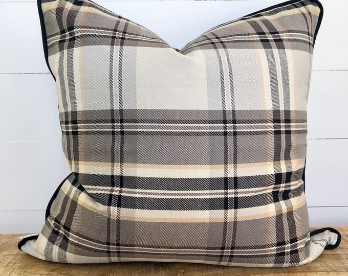 Plaid Peppercorn Cushion Cover with black piping