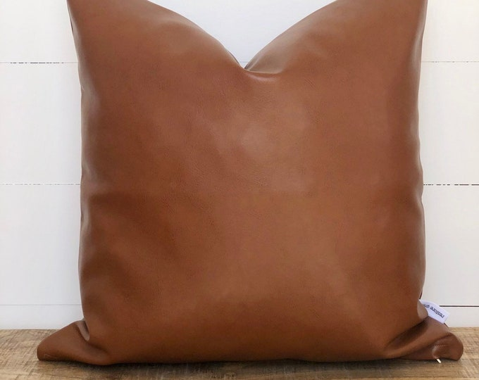 Copper faux leather cushion cover