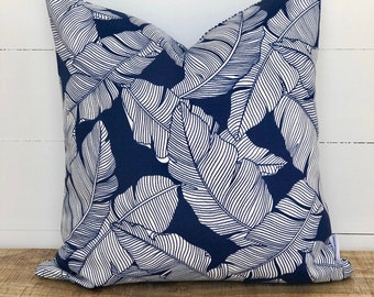SALE - Carano Plams with Geometric Nautical backing Indoor/Outdoor Cushion Cover