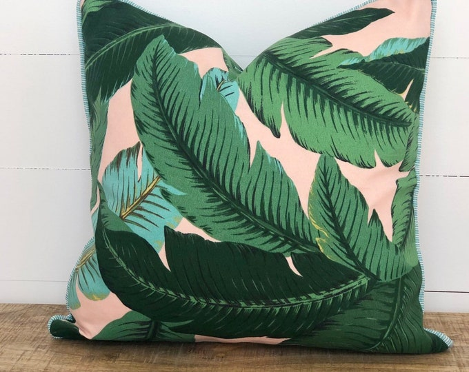Outdoor Cushion Cover - Pink Swaying Palms with Aqua Piping