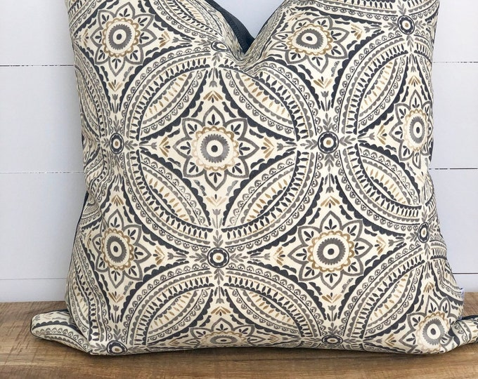 Pewter Tile Indoor/Outdoor Cushion Cover with rave charcoal back