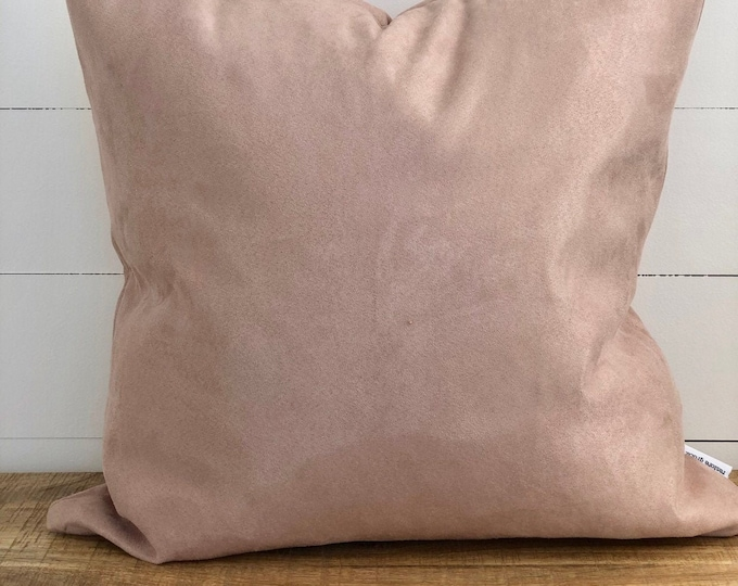 Vintage River Rose Pink Faux Suede Cushion Cover