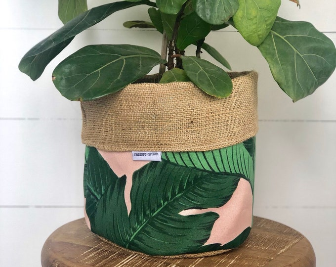 Pot Plant Cover - Pink Swaying Palms and Hessian Reversible