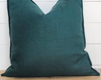 Cushion Cover - Spruce 100% Washed European Linen with Flange