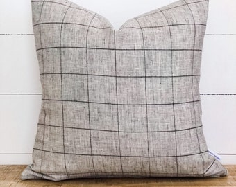 Cushion Cover - Grid Linen