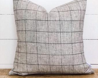 CLEARANCE - Cushion Cover - Grid Linen