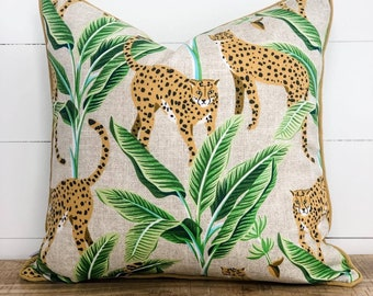 Outdoor Cushion Cover - Jungle Cats with gold piping