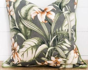 Outdoor Cushion Cover - Naya Palms with kiwi green piping