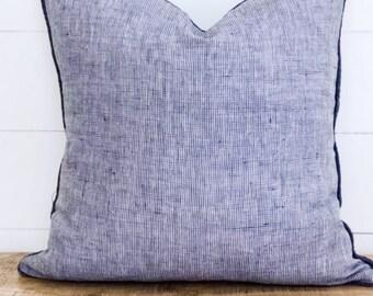 Cushion Cover - Denim blue lightweight Linen with linen piping