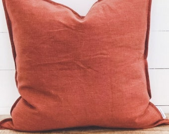 Cushion Cover - Cinnamon 100% Washed European Linen with Flange
