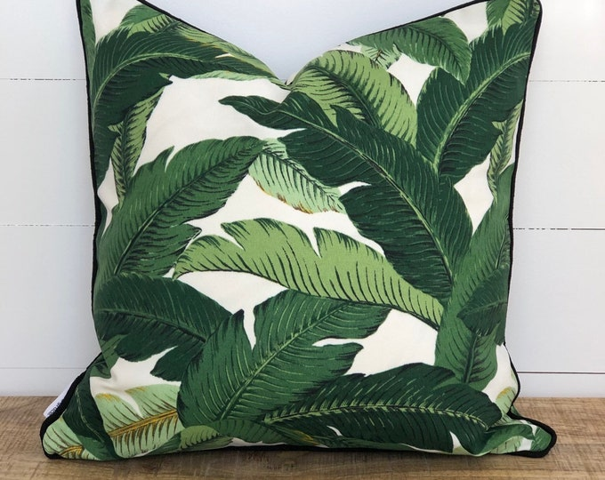 Outdoor Cushion Cover - Swaying Palms with Black Piping