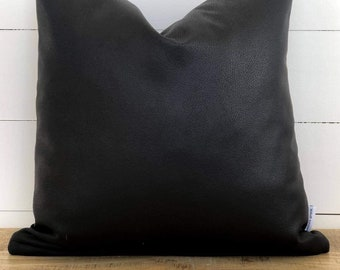 Cushion Cover - Ebony Faux Leather