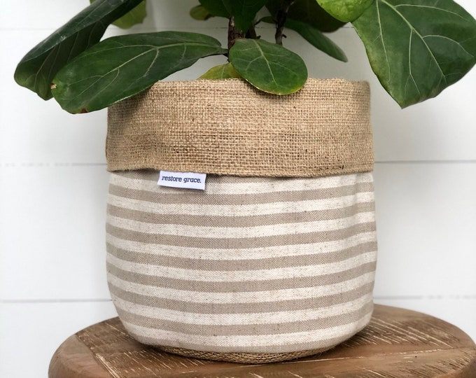 Pot Plant Cover - Taupe Scout Stripe and Hessian Reversible
