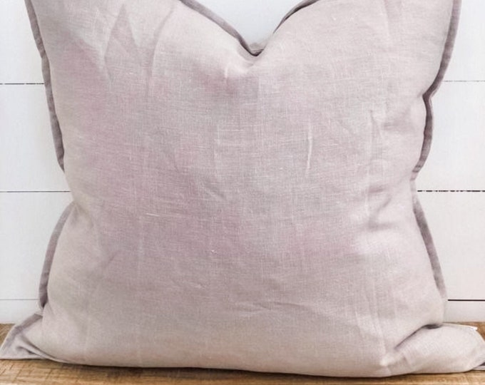 Cushion Cover - Stone 100% Washed European Linen with Flange