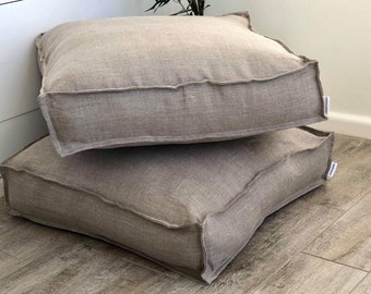 Natural 100% Washed European Linen Floor Cushion Cover with Flange