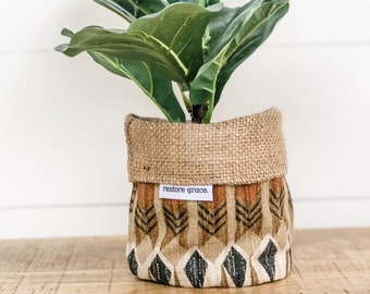 Mini Pot Plant Cover - Birch Reversible Hessian