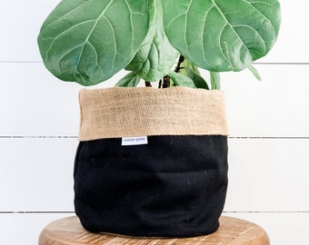 Pot Plant Cover - Black Linen Reversible Hessian