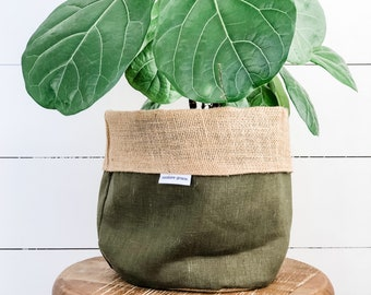 Pot Plant Cover - Fig Linen Reversible Hessian