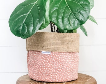 Pot Plant Cover - Blushing Fawn Reversible Hessian