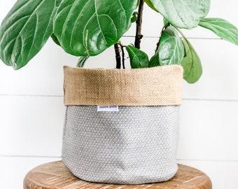 Pot Plant Cover - Grey Diamond Reversible Hessian