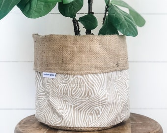 SALE - Pot Plant Cover - Bark Print Reversible