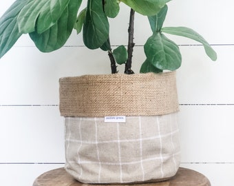 Pot Plant Cover - Natural Linen Check Hessian Reversible