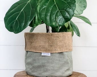 Pot Plant Cover - Pine Herringbone Reversible Hessian