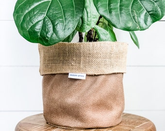 Pot Plant Cover - Camel Faux Leather Reversible Hessian