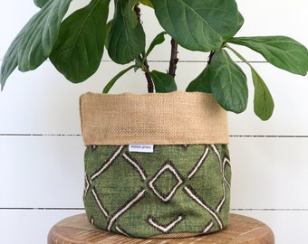 Pot Plant Cover - Fern Reversible Hessian