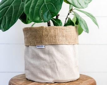 Pot Plant Cover - Oatmeal Linen Blend Reversible Hessian