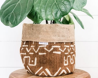 Pot Plant Cover - Cognac Mudcloth Reversible Hessian