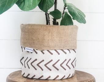 Pot Plant Cover - Tribal Mudcloth Hessian Reversible