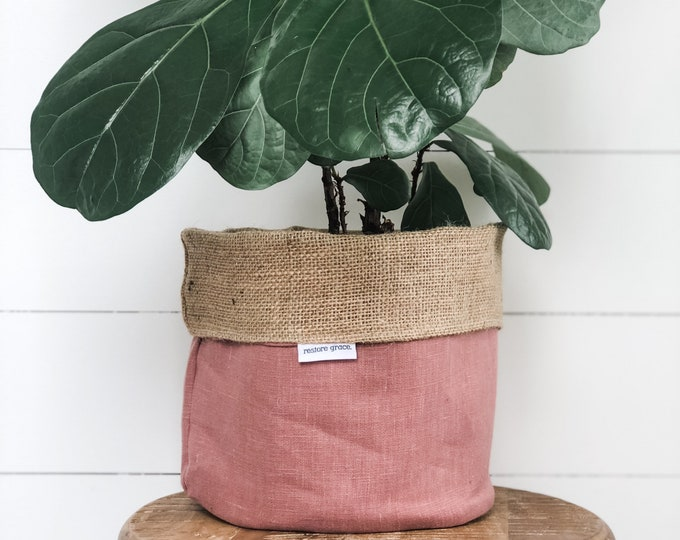 Pot Plant Cover - Blush Pink Linen and Hessian Reversible